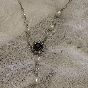 Vintage Liz Palacios Flower pearl drop necklace